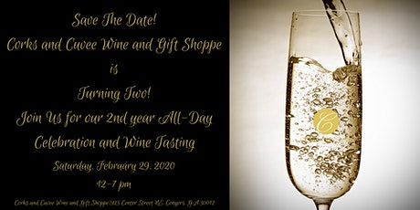 Corks and Cuvee Turns Two Drop In Wine Tasting tickets
