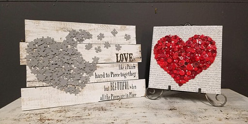 **SOLD OUT** Button or Puzzle Heart Stone & Pallet™ Schererville - Eco-friendly Home Goods made by YOU!