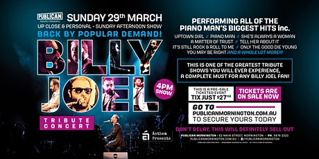 Billy Joel Tribute Concert LIVE at Publican, Mornington! tickets