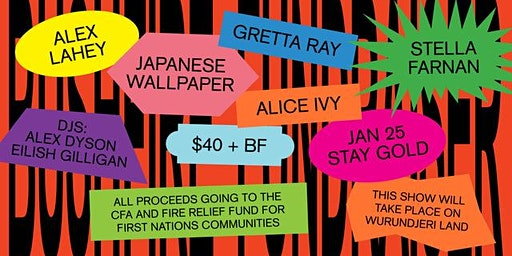 Bushfire Fundraiser - Alex Lahey, Japanese Wallpaper, Gretta Ray + more
