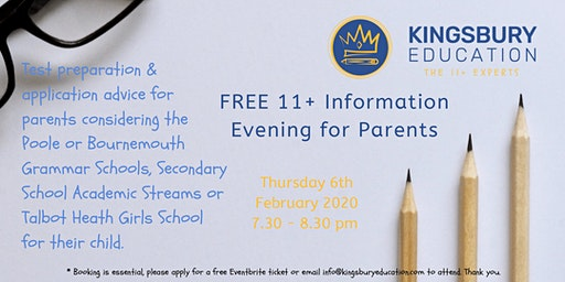 FREE 11+ Parents Information Evening- Poole & Bournemouth