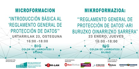 """MIKROFORMAZIOA: """"Reglamento General de Protección de Datos"""" entradas"""