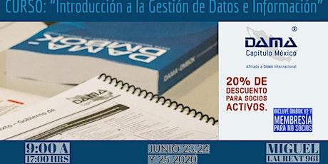 "Curso ""Introducción a la Gestión de Datos e Información"" boletos"