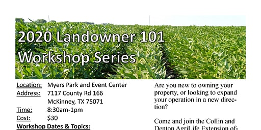 2020 Landowner 101 Workshop Series