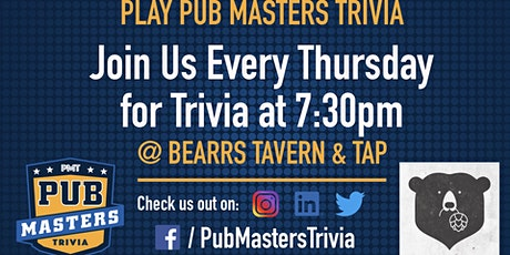 Pub Masters Trivia LIVE at Bearss Tavern and Tap - Tampa! tickets