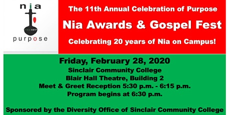 Sinclair College: 11th Annual Celebration of Purpose: Nia Awards/GospelFest tickets