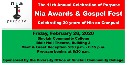 Sinclair College: 11th Annual Celebration of Purpose: Nia Awards/GospelFest