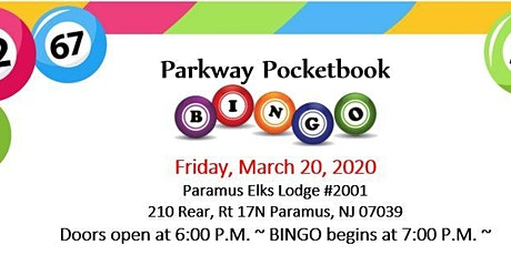 Paramus Parkway School Pocketbook Bingo tickets