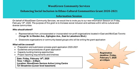 WoodGreen Community Services Grant Application Information Session tickets