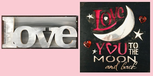 DIY LOVE Wood Painting with any colors. Love or Love You to the Moon & Back