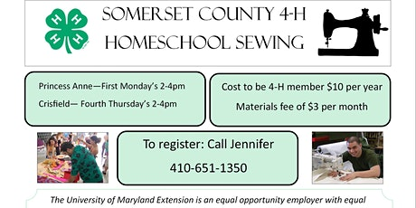 4-H Homeschool Sewing Club in Princess Anne, MD and Crisfield, MD tickets