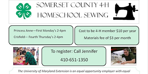 4-H Homeschool Sewing Club in Princess Anne, MD and Crisfield, MD