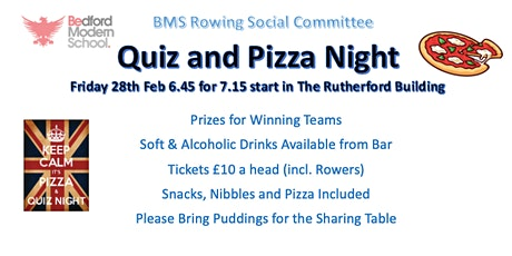 Rowing Pizza and Quiz Night 2020 tickets