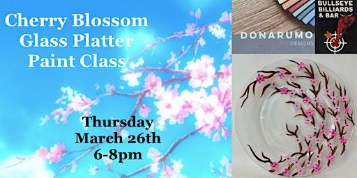 Cherry Blossom Glass Platter Paint Night