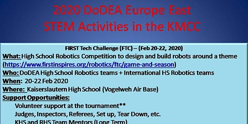 S.A.M. E.  Volunteers needed for FIRST Tech Challenge  – (Feb 20-22, 2020)