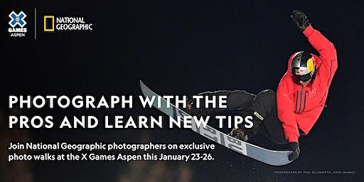 Nat Geo X Games Aspen Photo Walk: Snowboard Rail Jam Practice
