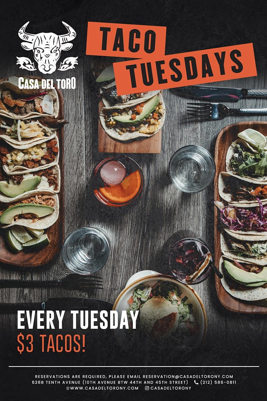 Taco Tuesdays at Casa del Toro | $3 Tacos!