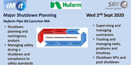 VICTAS Major Shutdown Planning - Nufarm Laverton tickets