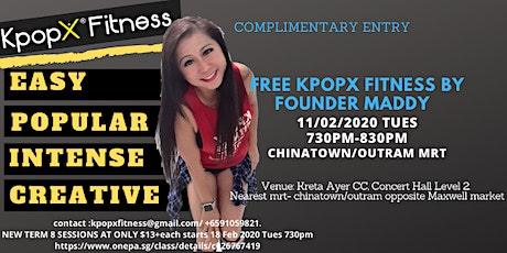 Kpop-X Fitness Kreta Ayer CC 11 Feb 2020, Tues 730pm! Outram/Chinatown - Complimentary RSVP tickets