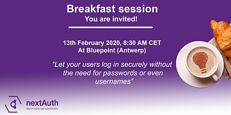 nextAuth breakfast - Let users log in without passwords or usernames tickets