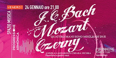 J. C. Bach, Mozart, Czerny:  concerto per pianoforte a quattro mani biglietti