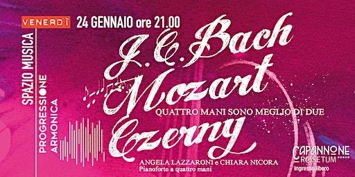 J. C. Bach, Mozart, Czerny:  concerto per pianoforte a quattro mani