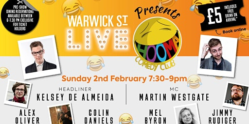 Warwick St Live presents Hooma Comedy Club Norwich