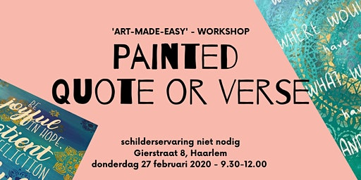 "Schilder workshop ""Painted Quote or Songtext"" - Schilderervaring niet nodig"
