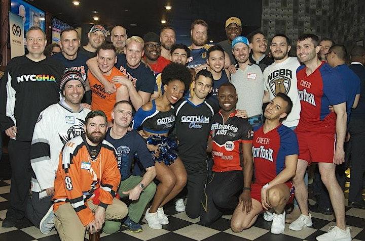 Group photo of sports teams at previous Jockathon event