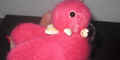Needle Felted Mini Flamingo with Seashell Necklace