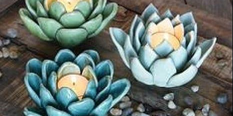 Clay Succulent Candle Holder $35