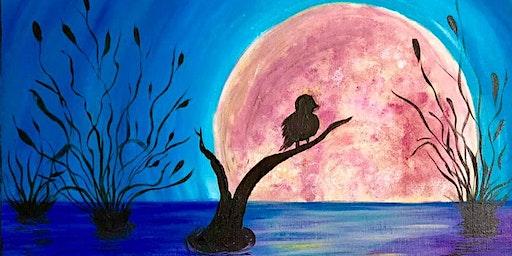 Moonlight bird on a branch