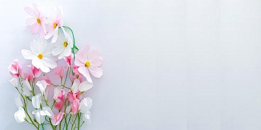 Taller de flores de papel:  Cosmos y guisante de olor