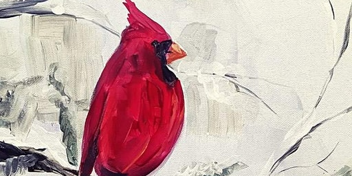 Winter Red Bird Paint and Sip