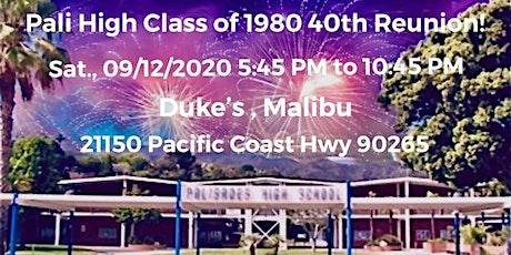 Pali High Class of 1980 Reunion 9/12/2020 tickets