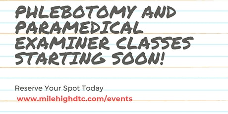 Phlebotomy and Paramedical Examiner Classes tickets