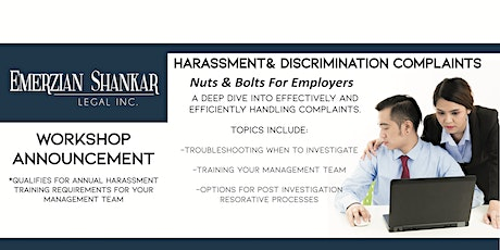 Harassment & Discrimination Complaints:  Nuts and Bolts for Employers tickets