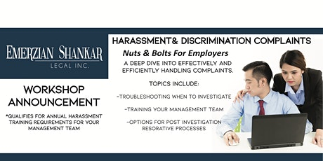 Harassment and Discrimination Complaints:  Nuts and Bolts for Employers tickets