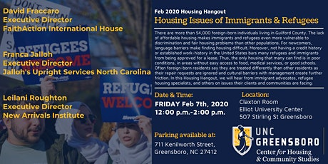 UNCG CHCS Feb Housing Hangout - Housing Issues of Immigrants & Refugees tickets