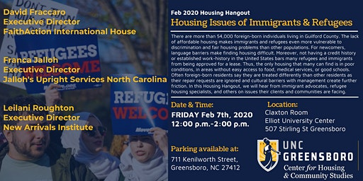 UNCG CHCS Feb Housing Hangout - Housing Issues of Immigrants & Refugees