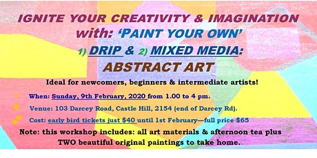 IGNITE YOUR CREATIVITY & IMAGINATION with: 'PAINT YOUR OWN'   ART tickets
