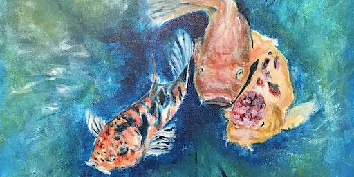 Paint & Sip - Koi Fish in Lily Pond (Hippo Art Studio)