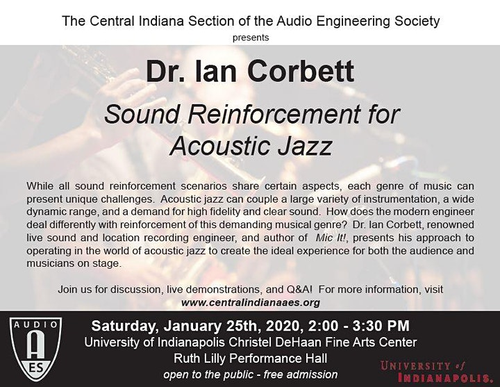 Sound Reinforcement for Acoustic Jazz with Dr. Ian Corbett image