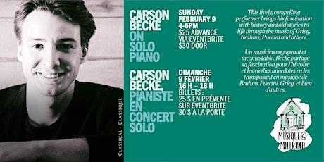 Carson Becke solo piano, pianiste en concert solo tickets