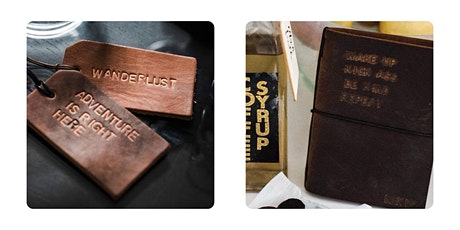 Stamped Leather Luggage Tag + Travel Notebook tickets