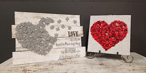 **SOLD OUT** 2nd Button or Puzzle Heart Stone & Pallet™ Schererville - Eco-friendly Home Goods made by YOU!