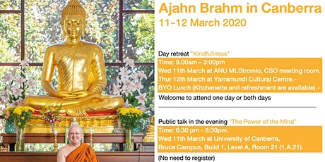 Ajahn Brahm in Canberra 11-12 March 2020  tickets