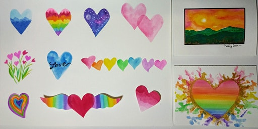 Watercolor Valentine cards for beginners--Jan 22