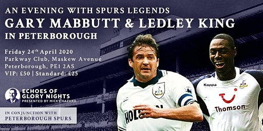 An evening with Spurs & England legends Gary Mabbutt & Ledley King