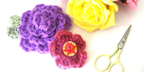 Crochet for beginners- Flower brooches tickets